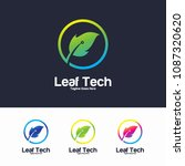 leaf tech logo vector design... | Shutterstock .eps vector #1087320620
