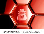 red glossy user secret icon in...