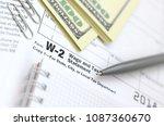 the pen  notebook and dollar... | Shutterstock . vector #1087360670