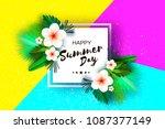 tropical summer palm leaves ... | Shutterstock .eps vector #1087377149