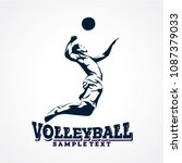 volleyball sport silhouette...   Shutterstock .eps vector #1087379033