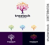 tree technology logo designs... | Shutterstock .eps vector #1087386536