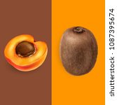 apricot and kiwi. vector... | Shutterstock .eps vector #1087395674