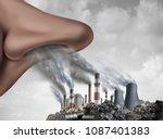 breathing toxic pollutants... | Shutterstock . vector #1087401383