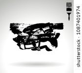 black brush stroke and texture. ... | Shutterstock .eps vector #1087401974