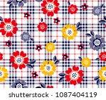 Daisy Flower Pattern On Plaid...