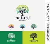 nature tree logo designs...   Shutterstock .eps vector #1087405769