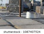 pile of concrete cube blocks... | Shutterstock . vector #1087407524