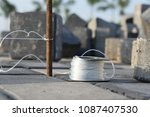 pile of concrete cube blocks... | Shutterstock . vector #1087407530