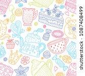 tea time. cute seamless pattern....   Shutterstock .eps vector #1087408499