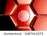 red glossy circle icon in the...