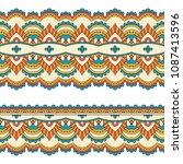 ethnic seamless border. hand... | Shutterstock . vector #1087413596