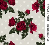 seamless pattern of red flowers ... | Shutterstock .eps vector #1087419338