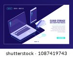 system of cloid file storaging  ... | Shutterstock .eps vector #1087419743