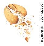 cookies broken into two halves... | Shutterstock . vector #1087422380