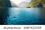 morning sun glow and dolphins... | Shutterstock . vector #1087422539