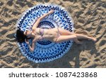 pretty woman lying on a mandala ... | Shutterstock . vector #1087423868