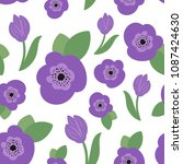 colorful floral flower seamless ... | Shutterstock .eps vector #1087424630