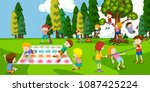 children playing at the park... | Shutterstock .eps vector #1087425224