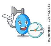 with clock ambu bag character... | Shutterstock .eps vector #1087427363