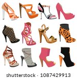 collection of women's shoes... | Shutterstock .eps vector #1087429913