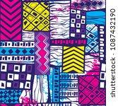 seamless geometric pattern in... | Shutterstock .eps vector #1087432190