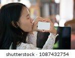 online payment  women hands...   Shutterstock . vector #1087432754