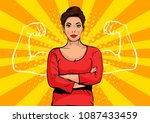 businesswoman with muscles pop... | Shutterstock .eps vector #1087433459