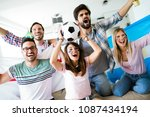 cheerful group of friends... | Shutterstock . vector #1087434194