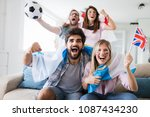 soccer fans emotionally... | Shutterstock . vector #1087434230