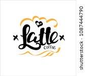 latte vector. handdrawn... | Shutterstock .eps vector #1087444790