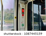 an emergency lever in the ... | Shutterstock . vector #1087445159
