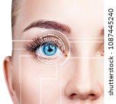 close up shot of woman eye in... | Shutterstock . vector #1087445240