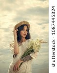 woman with floral bouquet ...   Shutterstock . vector #1087445324