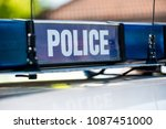 police vehicle sign with blue... | Shutterstock . vector #1087451000