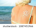 happy girl with the sun on her... | Shutterstock . vector #1087451966