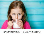 cute little girl enjoys the... | Shutterstock . vector #1087452890