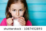 cute little girl enjoys the... | Shutterstock . vector #1087452893