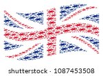 waving great britain state flag ... | Shutterstock .eps vector #1087453508