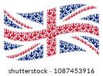 waving uk official flag... | Shutterstock .eps vector #1087453916