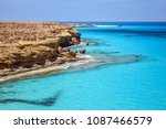 turquoise blue sea view with... | Shutterstock . vector #1087466579