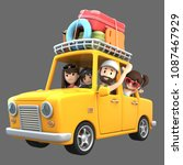 3d render of a family riding in ... | Shutterstock . vector #1087467929