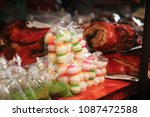 lao desserts and snacks sold on ... | Shutterstock . vector #1087472588