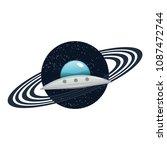 ufo flying spaceship vector... | Shutterstock .eps vector #1087472744