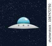 ufo flying spaceship vector... | Shutterstock .eps vector #1087472750