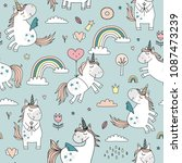 seamless pattern with unicorns. | Shutterstock .eps vector #1087473239