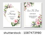 set of card with exotic leaves. ... | Shutterstock .eps vector #1087473980