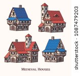 medieval ancient buildings set... | Shutterstock .eps vector #1087479203