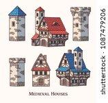 medieval ancient buildings set... | Shutterstock .eps vector #1087479206