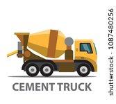 cement truck under construction ... | Shutterstock .eps vector #1087480256